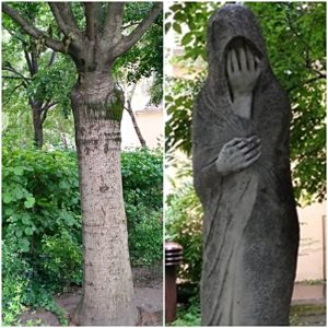 A felhasznált szobor, a II. a világháborús emlékmű a Millenáris parkból