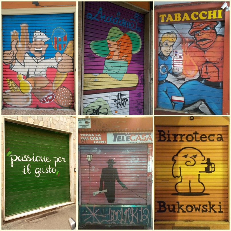 Bologna üzletredőny-festményei