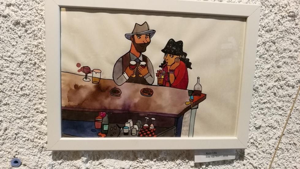 Kuizs Lilla munkája a Marionette Craft Beer House falán az Y gen kiállítás keretében a Marionette Craft Beer Houseban