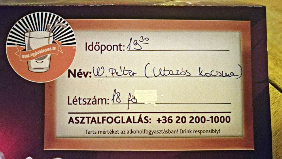 Az utazós kocsma rendezvény foglalása - Budapest