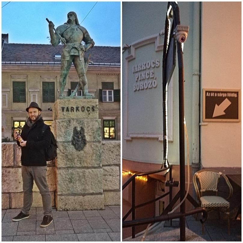 Székesfehérvár kocsmái - Varkocs Old Pub szobor és bejárat - Kocsmaturista