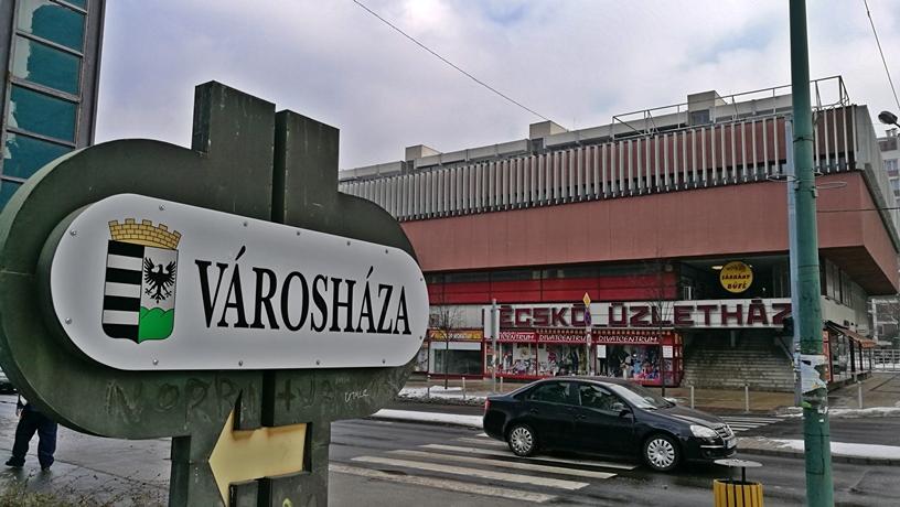 Salgótarján kocsmái és 4 Birtok - Városháza felirat