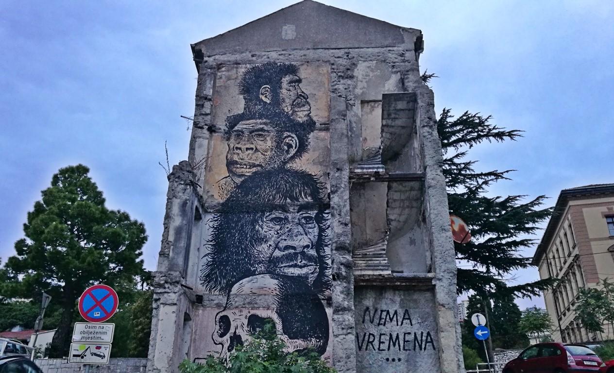 Helikopter nélkül Fiumében - Rijeka - Kocsmaturista - Falfestmény